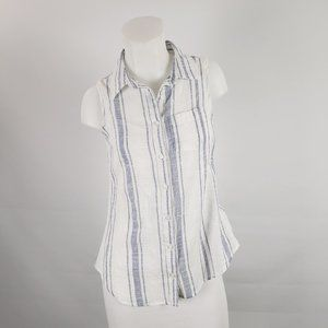Triple Five White and Blue Striped Top Size XS